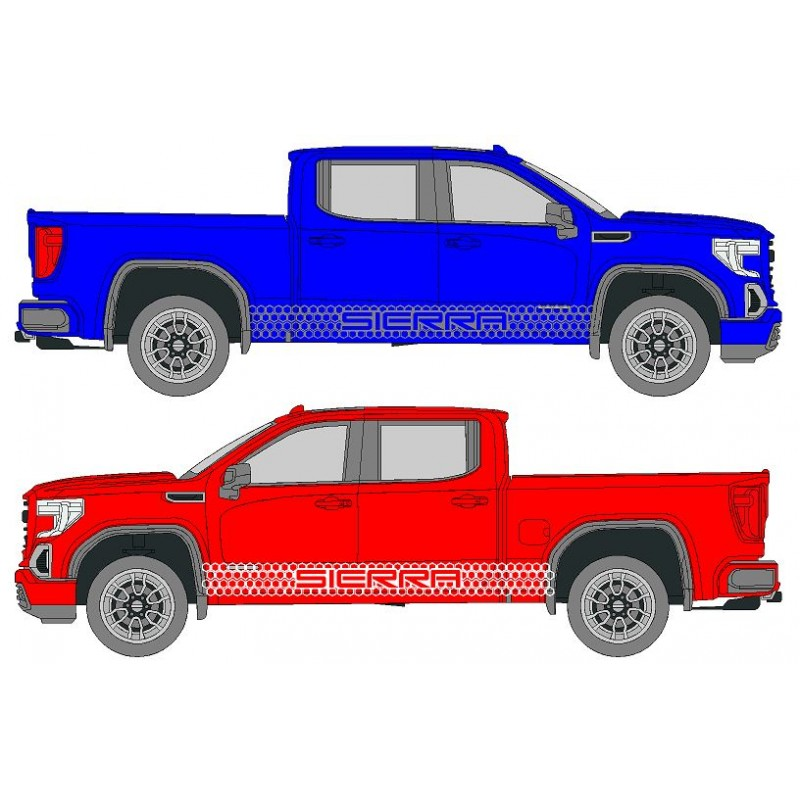 Honeycomb SIERRA Truck Side Decal Kit, Fits GMC SIERRA ,Not OEM - Many Colors to Chose From