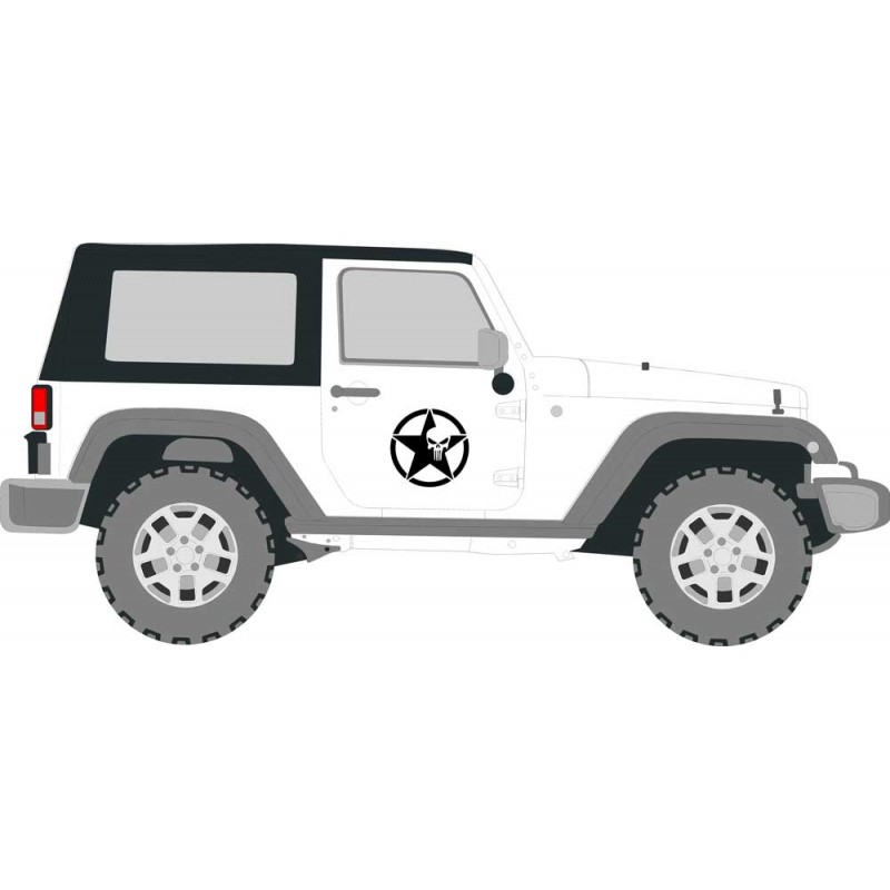 Military Star Punisher Decal Kit, Fits Jeep and other Vehicles ,Not OEM - Many Colors to Chose From