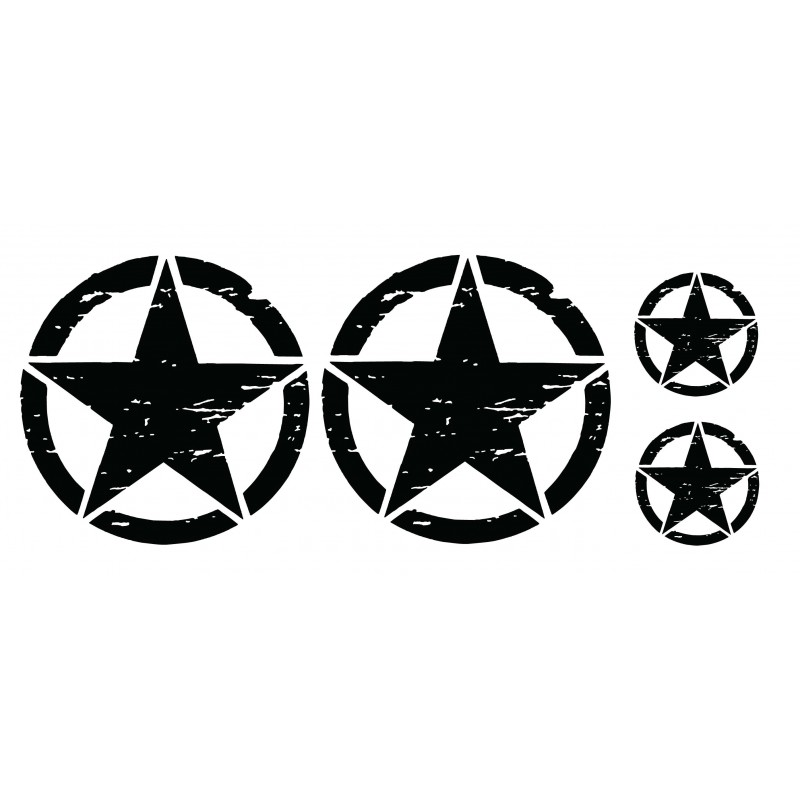 Military Star Decal Kit, Fits Jeep and other Vehicles ,Not OEM - Many Colors to Chose From